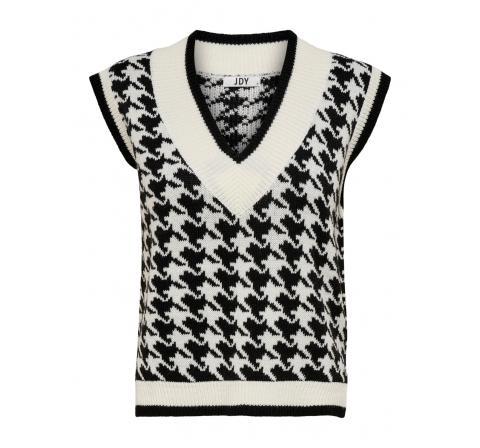 Jdy jdyberte v-neck jacqaurd vest knt blanco - Imagen 1