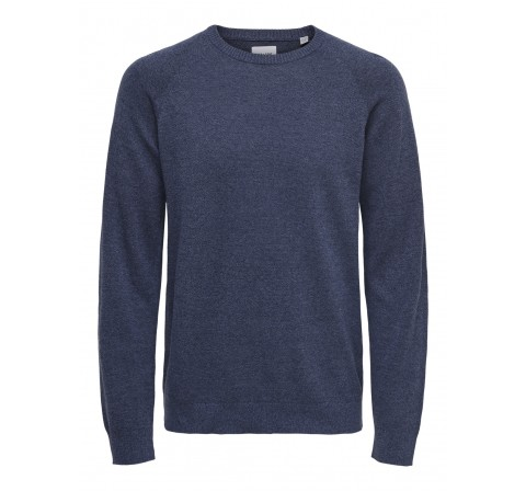 Only & sons onsduke 12 mel crew neck knit azulon - Imagen 1