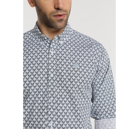 "Bendorff camisa m/l popelin ""strech""mini print blanco - Imagen 1"