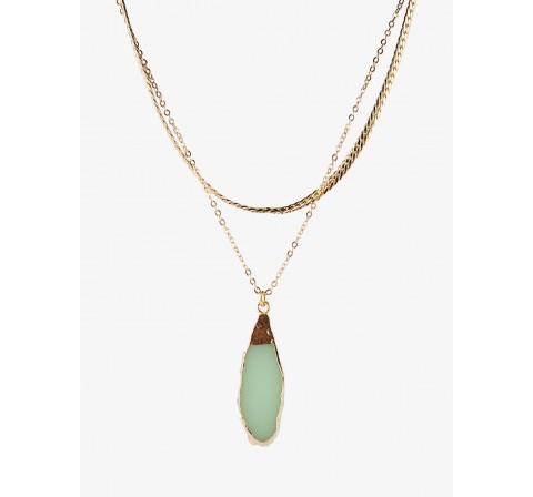 Pieces pcmathilde combi necklace gold verde claro - Imagen 1