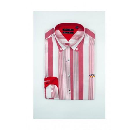 Spagnolo hombre cm cuello boton popelin 0025 rojo - Imagen 1