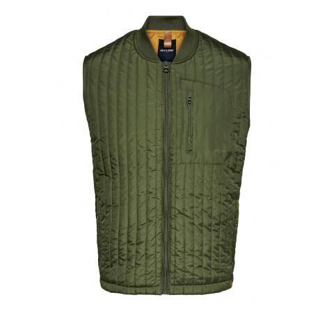 Only & sons onsvincent life quilted vest otw verde - Imagen 1