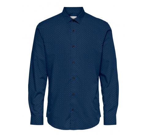 Only & sons onssane ls ditsy poplin shirt 8337 azulon - Imagen 1