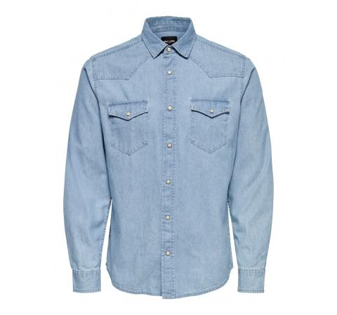 Only & sons onsleno life ls western chambray shirt denim medio - Imagen 1