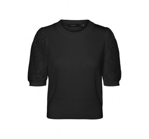Veromoda vmnewflowers ss o-neck blouse negro - Imagen 3