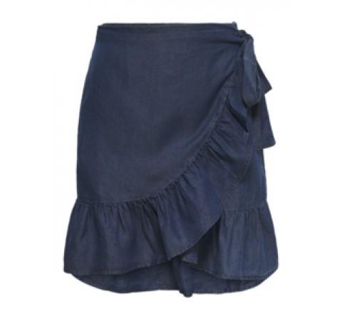 Only onlsofia wrap knee dnm skirt denim oscuro - Imagen 4